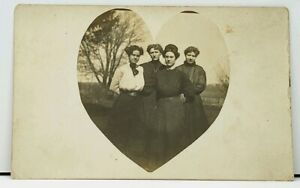 Victorian-Ladies-Real-Photo-Heart-Border-RPPC-Early-1900s-Postcard-H14