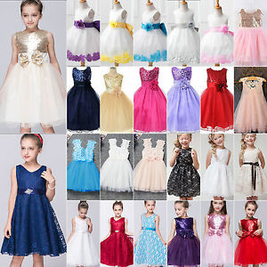 Floral Girls Princess Dress Kids Baby Party Wedding Pageant Formal Tutu Dresses