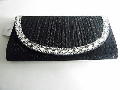 Black With Crystals Pleated Front Evening Bag Purse Clutch Handbag Wedding Party