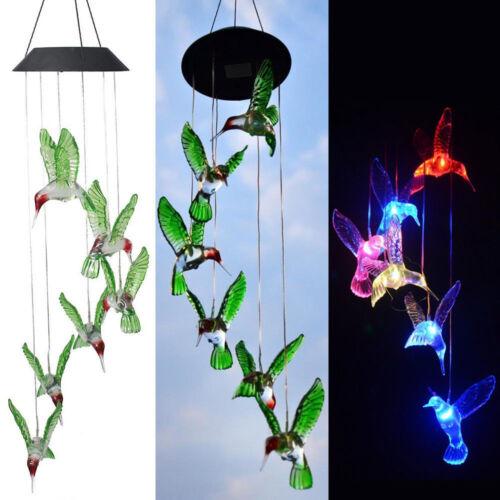 ColorChanging LED Solar Powered Hummingbird Wind Chime Light Yard Garden Decor