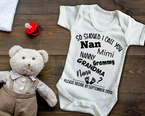 Custom Pregnancy reveal baby grow bodysuit vest, So should I call you grandma