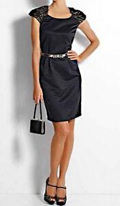 heine satinkleid m spitze schwarz abendkleid business kleid gr 36 38 40 42  ebay