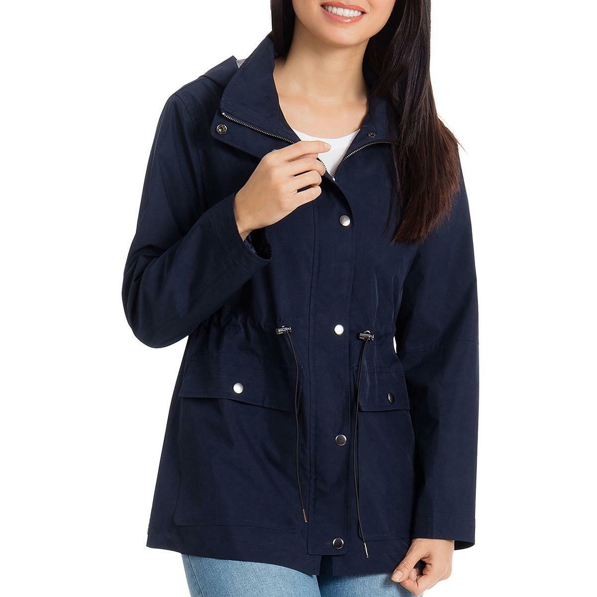 Bagatelle Womens Navy Lightweight Raincoat Anorak Jacket Coat S BHFO 4116