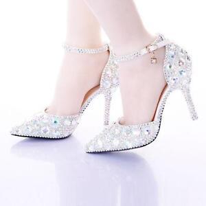 ead1e8eb207b Image is loading Women-Pointy-Toe-Bridal-Wedding-Dress-Shoes-Rhinestone-