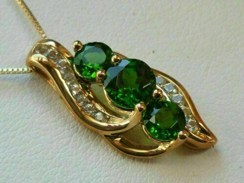 2.20 Ct Round Cut Emerald /& Diamond Pendant With Chain 14K Yellow Gold Finish