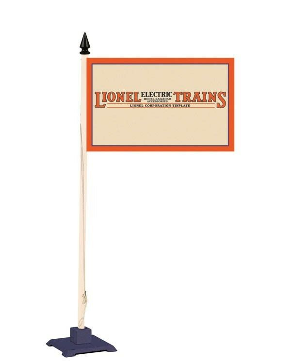 MTH 11-90065 Lionel tinplate Std. Gauge Flag Pole & Base - Cream & bluee (Lio