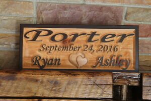 Personalized Wedding Anniversary Custom Sign Carved Wood Signs Plaque Couple