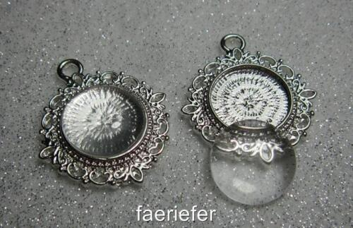 matching glass domes 2 round 15mm pendant setting trays for cabochons pictures