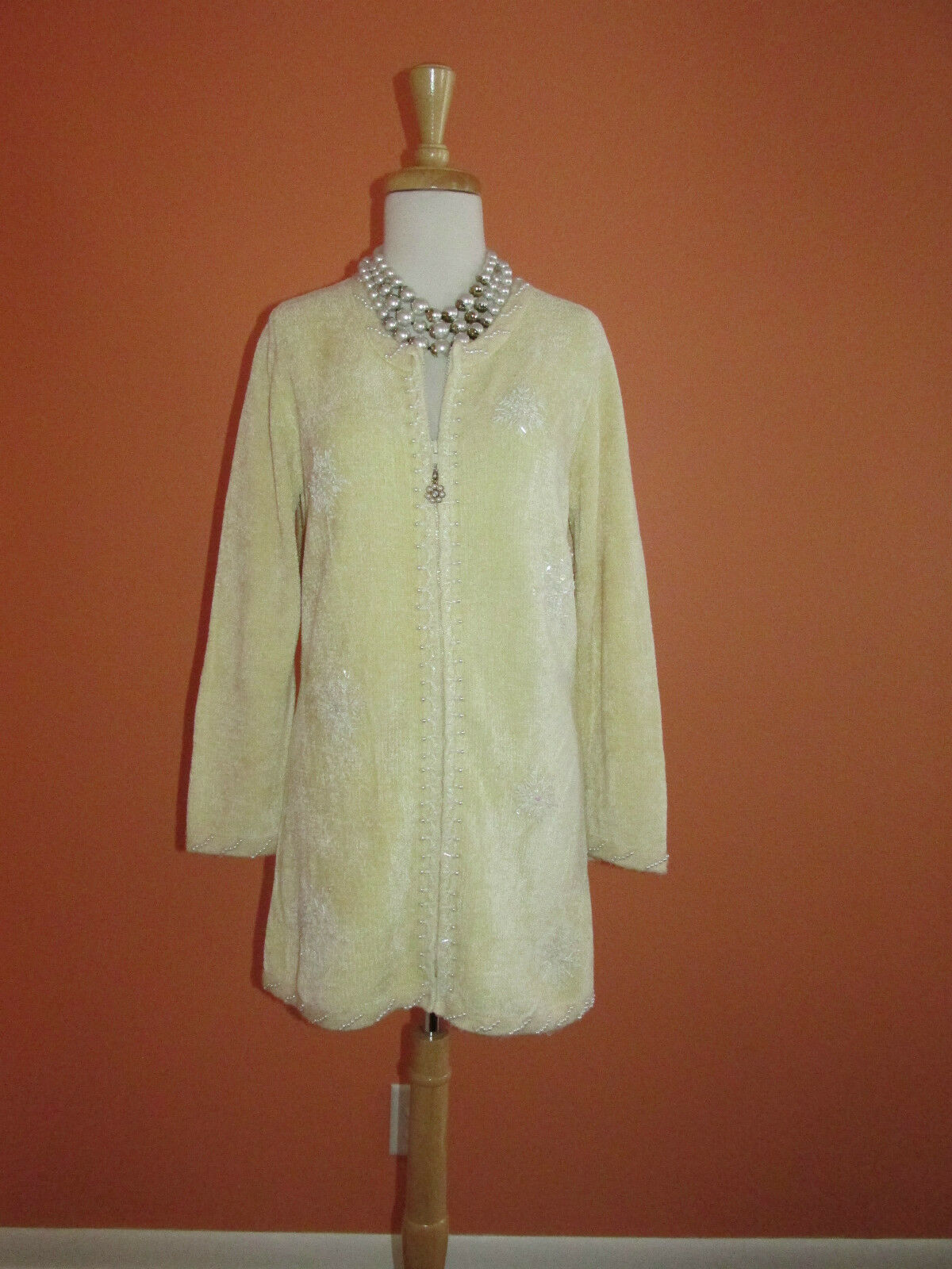 Storybook Knits Size S Cream Beaded Snowflake Chenille Cardigan Tunic Sweater