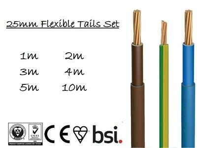 6491X Earth 16mm 25mm Set Double Insulated Brown /& Blue 6181Y Meter Tails