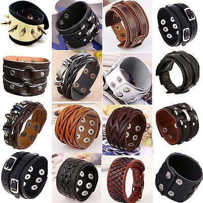 34Styles Punk Men Women Leather Wide Wrap Wristband Cuff Bracelet Rivet Bangle