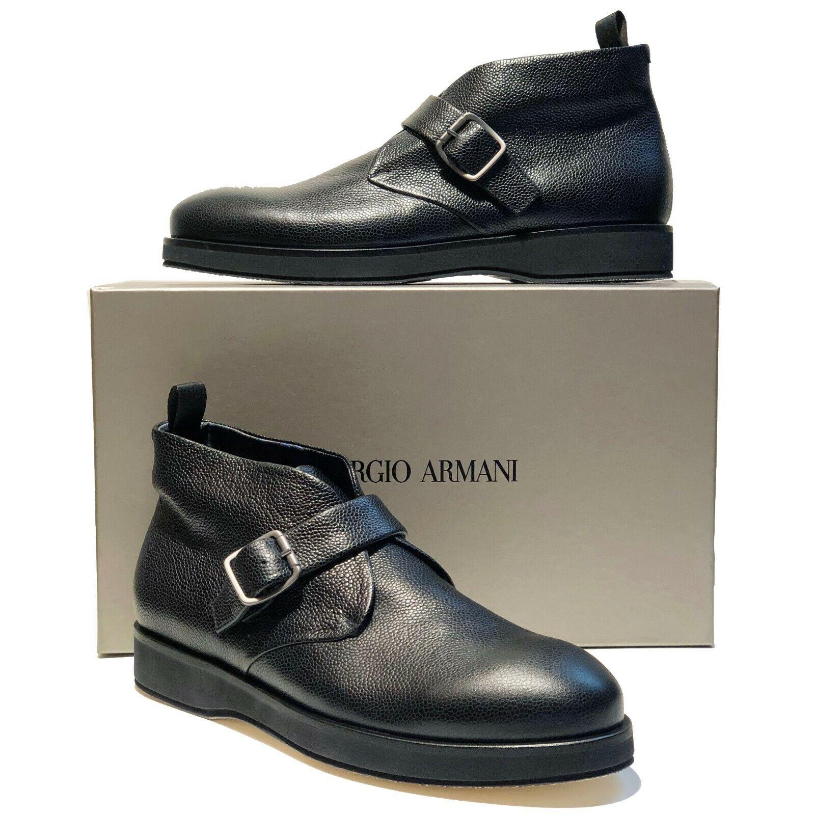 NEW Giorgio ARMANI Black Pebbled Leather Dress Men's Fashion Buckle Boots Casual