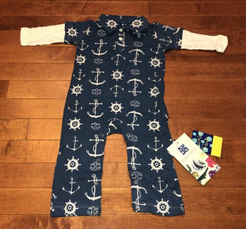 Kickee Pants Infant Boy Twilight Anchor Long Sleeve Polo Romper 6-12 Months New