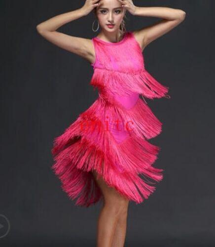 Dance Latin Dress Tassel Backless Short Skirt Lady Dancing Sleeveless Dress A323