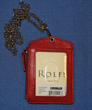 Rolfs Red Leather Zippered Pocket ID Holder Identification Lanyard Chain 0d09b4f2b6cc9