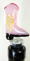 Cow Girl Boot Glass Wine Bottle Stopper Bar Accessory
