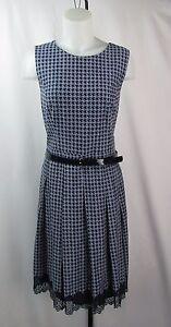 Tommy-Hilfiger-Navy-Houndstooth-Belted-Dress-Size-12