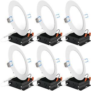Sunco 6 Pack 6 Inch Slim LED Downlight, Junction Box, 14W=100W, 5000K Daylight
