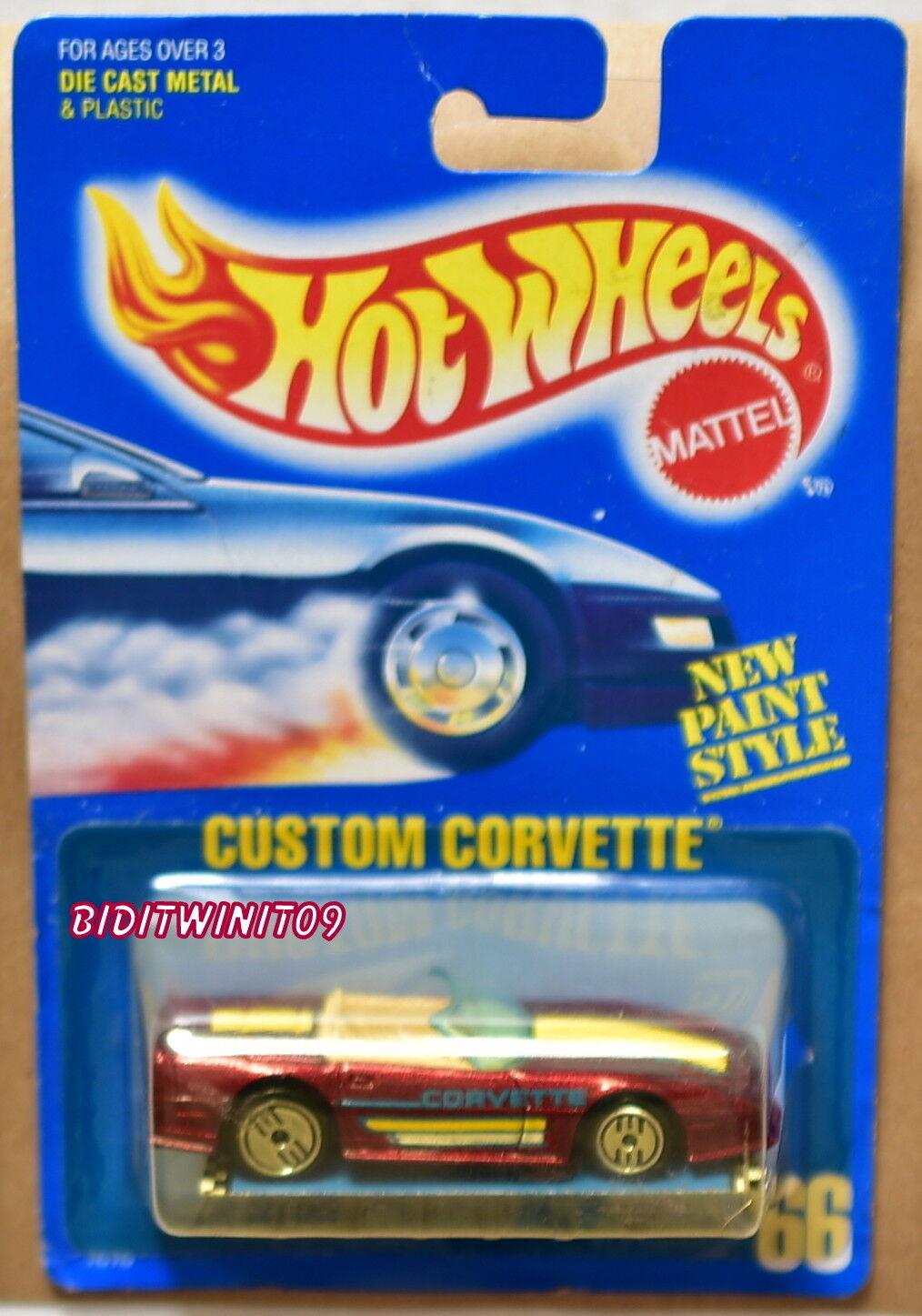 Hot Wheels 1989 Bleu Carte Personnalisé Corvette  66 Rouge Mauvais Carte 10 W