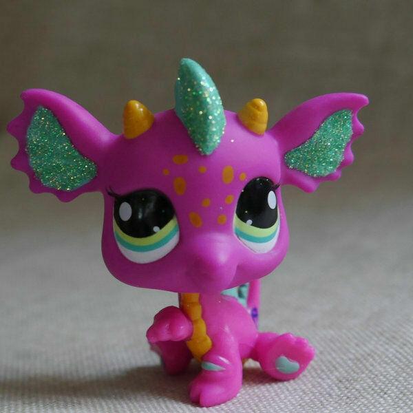 Plum pink Dragon green eyes Littlest pet shop LPS mini Action Figures #2663
