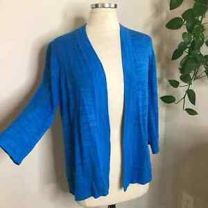 Chico's open front cardigan sweater blue size large womens 3/4 sleeve 2 L