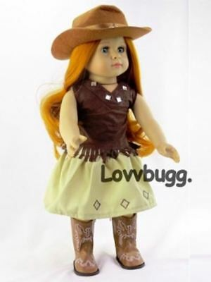 "Complete 5pc Brown Cowgirl Skirt Set for American Girl 18/"" Doll Clothes LOVVBUGG"