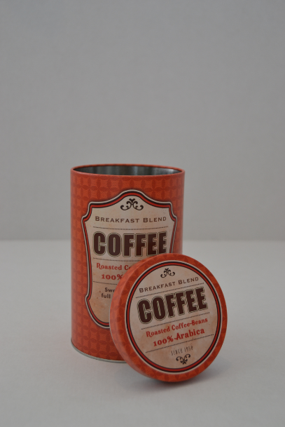 """Kaffeedose Metalldose Aufbewahrungsbox mit Deckel rund """"COFFEE"""" Metall Print rot"""