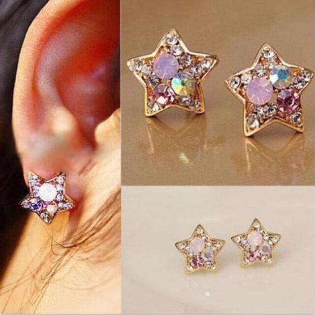 1Pair New Fashion Women Lady Elegant Crystal Rhinestone Ear Stud Earrings