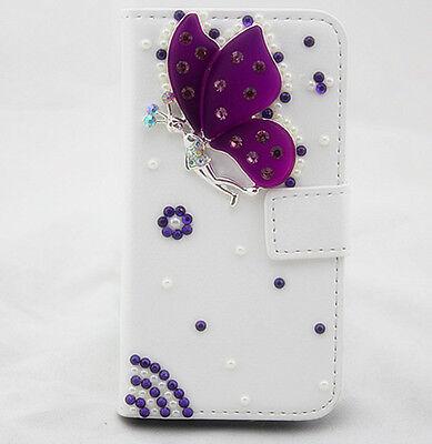 3D Purple Diamonds butterfly PU leather slot wallet flip case for LG G2 D802