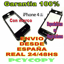 PANTALLA TACTIL PARA IPHONE 4S MARCO CRISTAL TOUCH SCREEN 4 NEGRO NUEVA A+