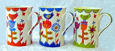 Tassen-Set 3-teilig Vogel Becher Frühling Kaffee Tee Porzellan 250 ml Blumen