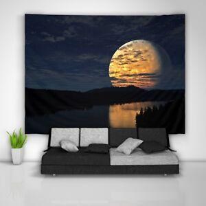 Night-Moon-Wandteppich-Kunst-Wandbehang-Tisch-Bettdecke-Wohnkultur