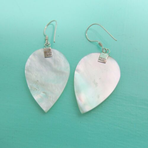 Natural White Mother of Pearl Shell Handmade Earrings 925 Sterling Silver Drop