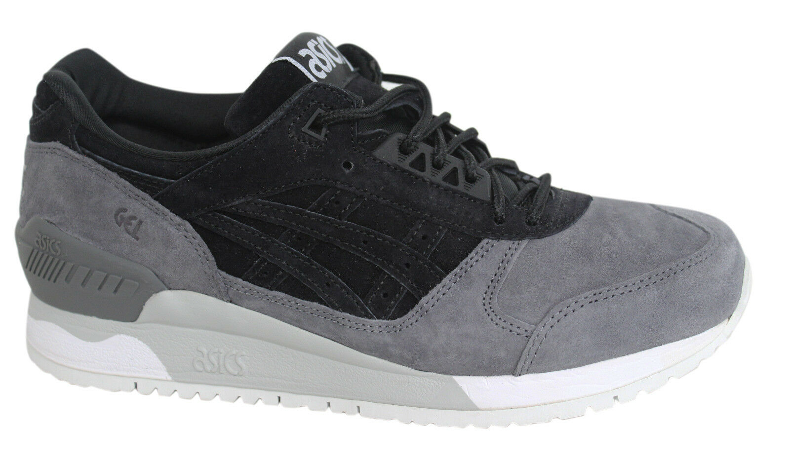Asics Gel Respector Black Grey Lace Up Leather Mens Trainers H6U1L 9090 D108