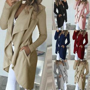 Womens-Waterfall-Cardigan-Ladies-Slim-Fit-Long-Sleeve-Blazer-Coat-Jacket-To-U