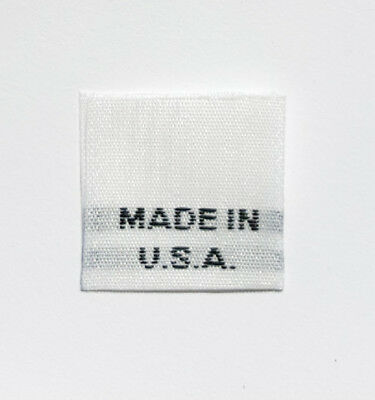 AMERICAN FLAG 100 PCS BLACK WOVEN SEWING GARMENT CLOTHING LABEL MADE IN U.S.A