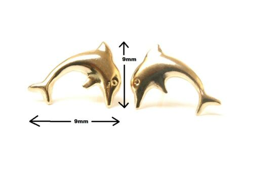 9ct Gold Dolphin Stud earrings Gift Boxed Made in UK Birthday Gift