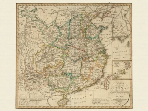 Old China Map Weiland approx 1821 Paper Canvas