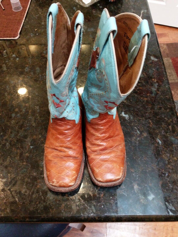 Ferrini Womens Western Cowboy Boots Size 6.5 Teal Brown Diamond Pattern
