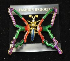 Vintage butterfly Style  Brooches Gold/multi color Bouquet  #464