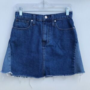 Madewell-Rigid-Denim-A-Line-Mini-Skirt-Pieced-Edition-Blue-Womens-Size-26