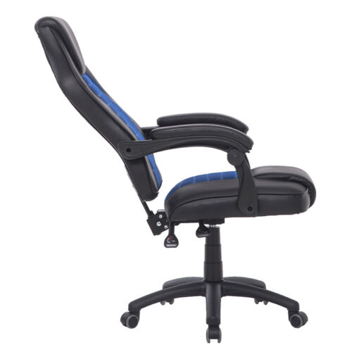 Office Executive Racing Gaming Chairs Swivel PU Leather Computer Desk Chair Blue