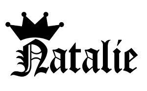 Natalie-Vinyl-Sticker-Decal-Crown-Name-Old-English-Choose-Size-amp-Color