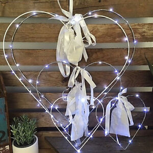 Rustic Hanging Heart Wreath with LED Fairy Lights Chic ...
