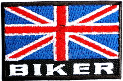 Proud British Biker UK Union Jack GB British Flag Iron On Embroidered Patch