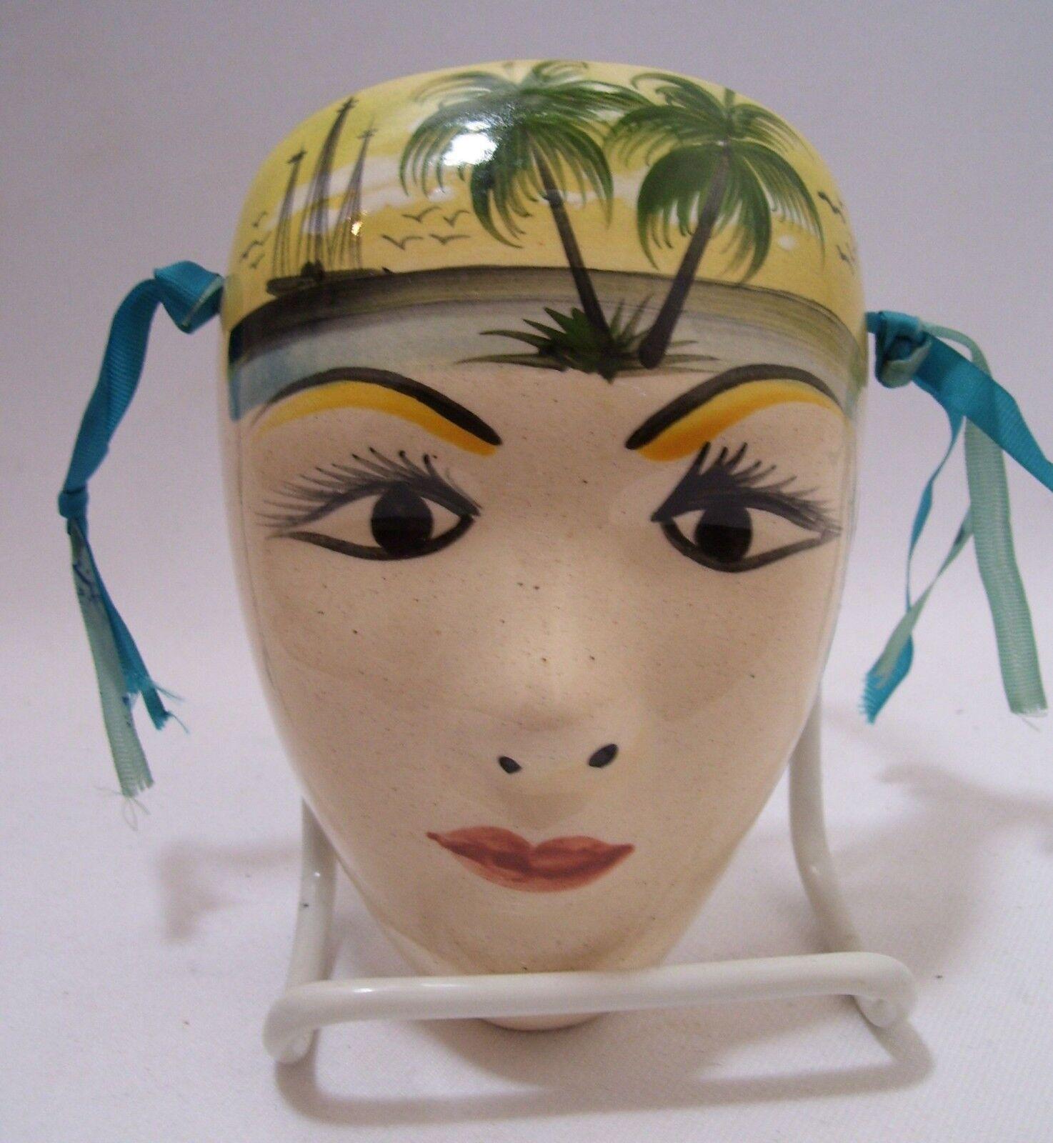 Máscara Facial Cerámica Pequeño Raro Vintage Souvenir de Santo Domingo de cerámica 4x6