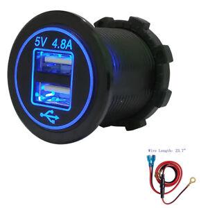 4.8 A USB Charger Plug Socket 12V Outlet Handlebar Motorcycles Mount Fits Harley