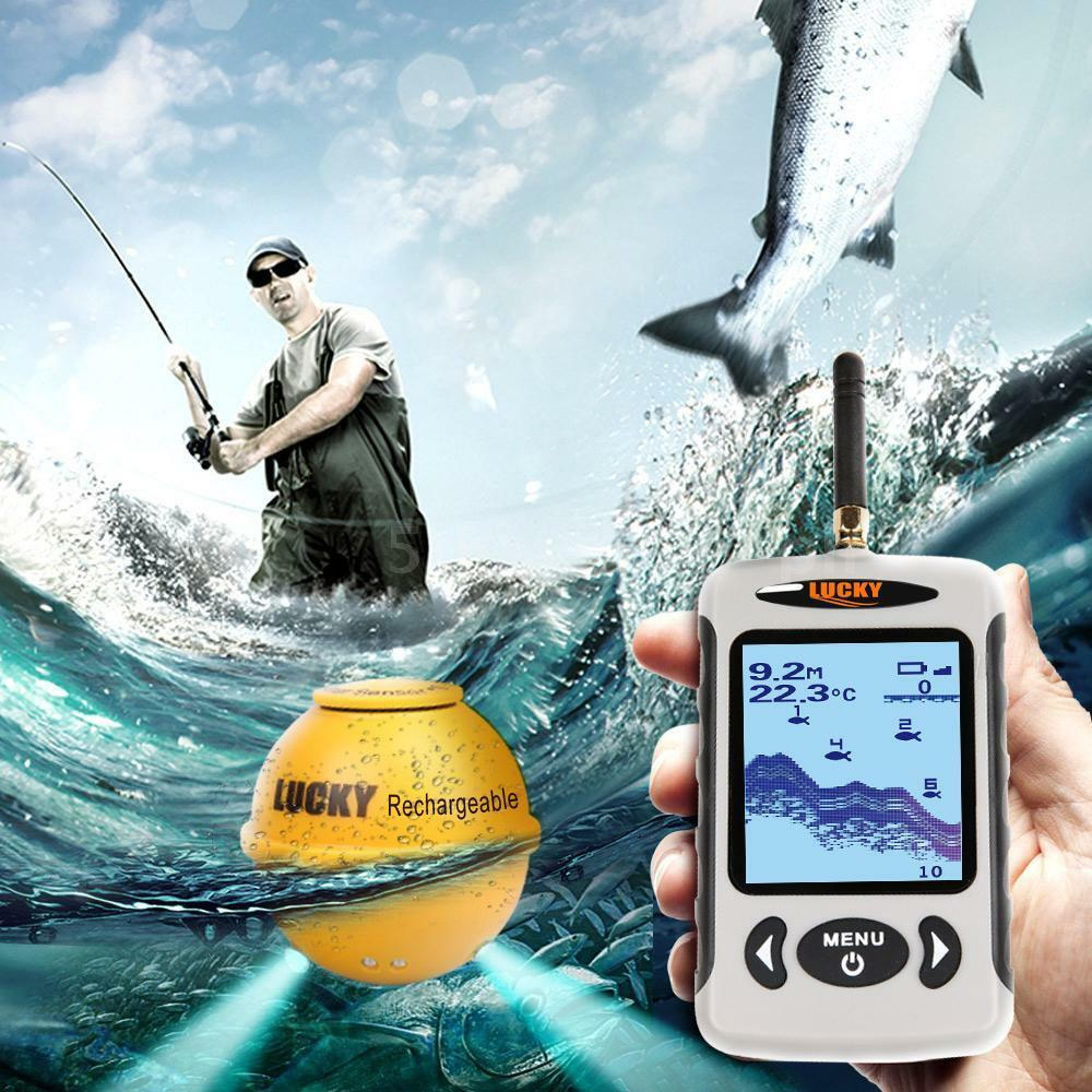 NEU Tragbar LCD Wireless Echolot Fischfinder Sonar Sensor Reichweite 150m D8P4