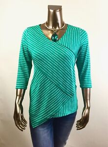 CHICO-039-S-NWT-SIZE-2-L-GREEN-WHITE-CROSS-STRIPE-3-4-SLV-TUNIC-85