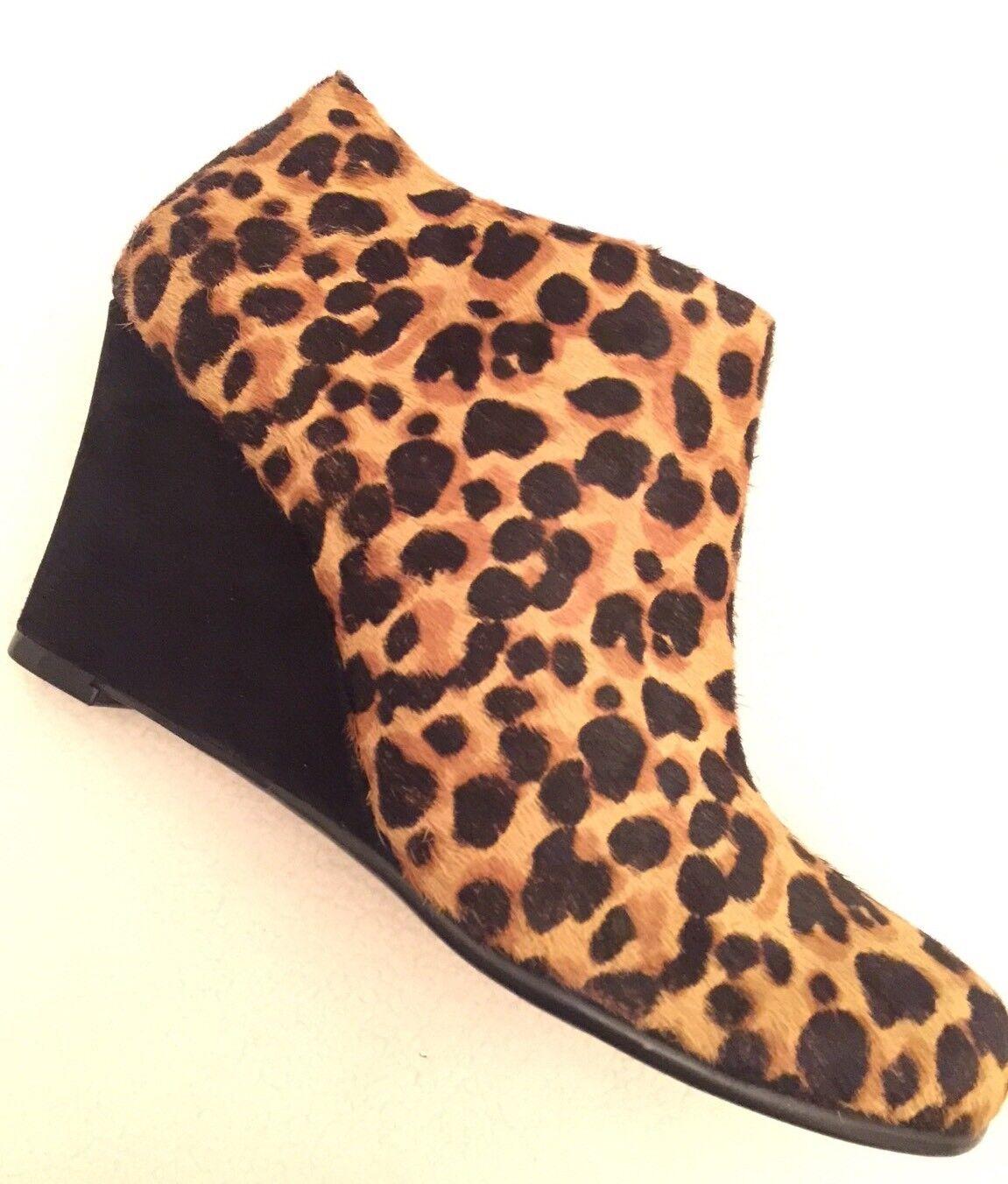 New Aerosoles Plum Pie Leopard Calf Fur Booties Ankle Boots sz 5.5 M